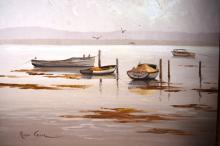 Robyn Collier, 'Moored Boats', oil on board, signed, 34 x 49cm