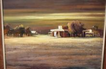 Peter Fennell, deserted country town scene, oil on board, signed, 60 x 75c,