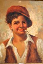 Artist unknown, Italian peasant boy, oil on board, indistinctly signed, 48 x 39cm