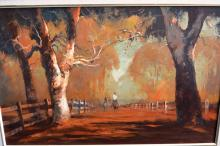 Colin Parker, 'Red Dust on the Hill End Road', oil on board, signed 45 x 70cm