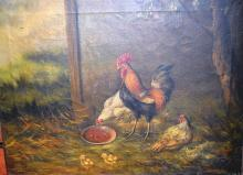 Artist unknown, farmyard scene of chickens, oil on canvas, signed Taylor, unframed, 31 x 40cm