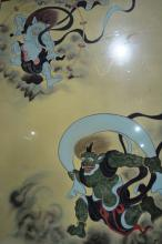 Artist unknown, Asian scene with demons, painted on silk, signed with character script and red seal stamp, 108 x 75cm