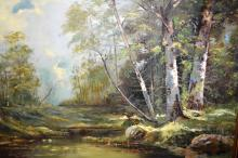 Artist unknown, forest scene with water hole, oil on board, unsigned, 60 x 90cm