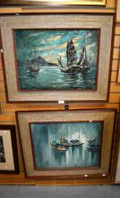 Artist unknown, 2 x various paintings of Chinese fishing boats, each in oil on canvas in similar frames, both signed indistinctly, different artists, 36 x 50cm
