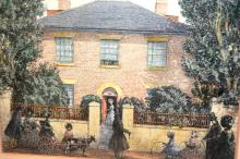 William Hardy Wilson, 'House in Campbell Street', Hobart, Tasmania, coloured lithograph, 24.5 x 32.5cm