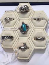 7 various sterling silver dress rings.