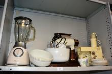 Breville kitchen blender, Sunbeam Mixmaster with 2 bowls, beaters etc, bar mix, various china to incl. Royal Albert etc