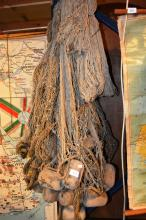 Vintage Japanese fishing net with timber floats, great display piece