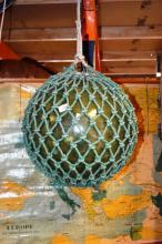 Vintage green glass fishing buoy, 40cm D