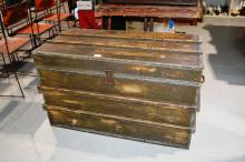 Vintage timber travel/shipping trunk, 50cm D
