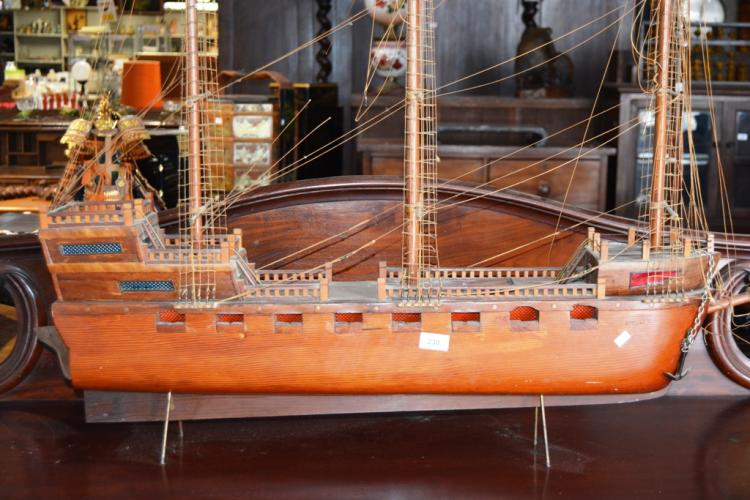 Hand Made Vintage Wooden Model Of A 3 Masted Sailing Ship With