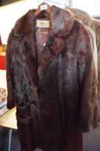 Fur coat by Farmer's, long brown example, satin lined