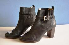 Pair of ladies high heel boots by Saba, black leather, size 41, have been worn but in good condition
