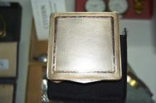 Vintage European silver compact, hinged lid with finely engraved cross hatch detail, inlaid with gold, interior with mirror and powder puff, appears unused, 800 grade silver, comes with original pouch & box