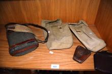 5 pieces of militaria incl. an old blue enamel canteen with wool covering in leather strapping and stamped Bonney & Clark, 2 x canvas pouches, both dated for 1942, 2 leather pouches, early examples from WWI incl. 1 x stamped W.T. Weeks, Sydney 1916, broa