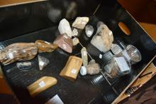 Box containing collection of assorted polished crystal specimens etc incl. petrified wood, quartz crystal, quartz jasper & agate