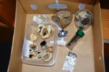 Box containing a collection of assorted crystal specimens incl. gypsum, agate, smokey quartz, sapphire, amethyst etc