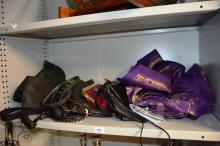 9 x various ladies fashion handbags, purses etc incl. mesh examples, leather etc, plus a length of sari material