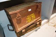2 vintage ammo boxes