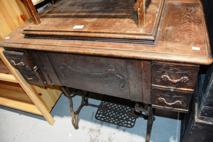 American made sewing machine table cast iron legs and drawe - Cast iron sewing machine table ...