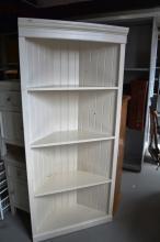 Solid timber white painted corner bookshelf