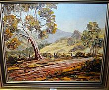 Oil on board, Australian rural landscape,