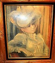 Ornate gilt framed print, lady in feathered hat