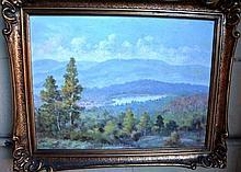 Vintage Australian oil on canvas, mountain