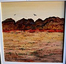 Colleen Parker, oil on board, outback landscape