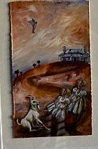 Karen Atkins, oil on card, 'Goat girls' signed, 23