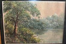 Artist unknown, watercolour of a riverbank scene,