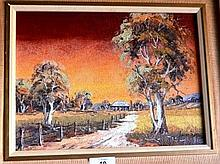 H Kobald, oil on board, outback homestead at