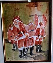 David Beschi, watercolour 'Scholl for Santa's'