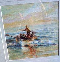 Joe Penn, watercolour, 'The ladies team' signed
