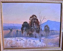 James Wynne, oil on board, sheep grazing in a