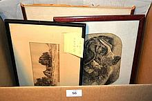 Collection of 6 various antique engravings, incl.