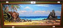 John Emmett, oil on board, 'The driftwood piece',