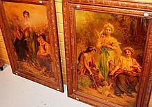 Pair of antique coloured lithographs, original