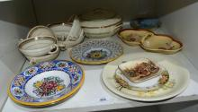 Shelf of various dishes and bowls incl.