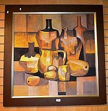 Paco Gorospe, oil on board, cubist still life of