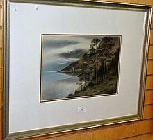 Artist unknown, pastel, shore line with trees and