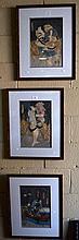 Toyokuni, set of 3 Japanese woodblock prints of