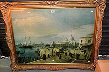 Large ornate gilt framed print, St Marco's, Venice