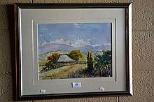 Henry Harrison, watercolour, 'Mary's Farm' signed,