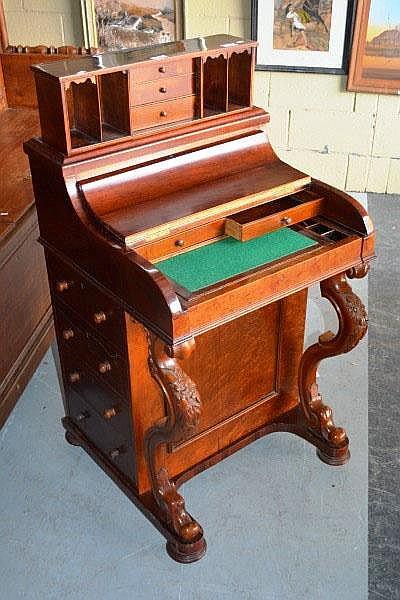 Antique Victorian burr sycamore davenport desk the