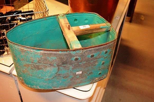 Large vintage scoop or peg bucket galvanised metal