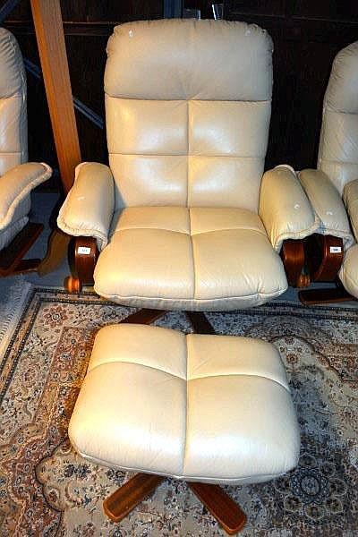 Tessa cream leather upholstered reclining arm