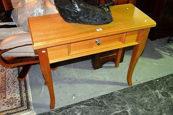 Modern light oak console table, single drawer by