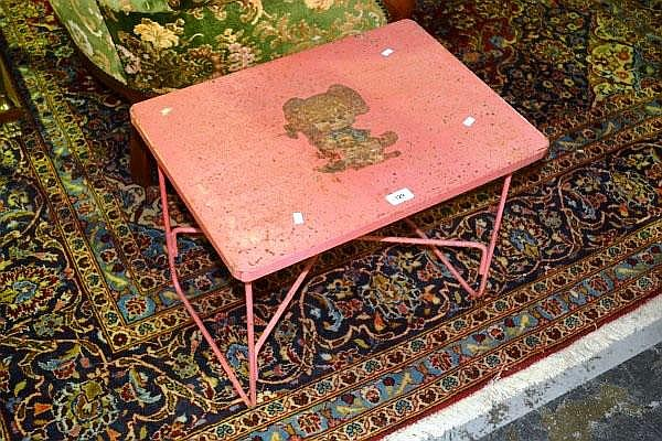 VIntage childs metal work table, pink painted with