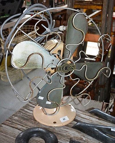 Vintage Elcon desk fan, 3 speed, working order